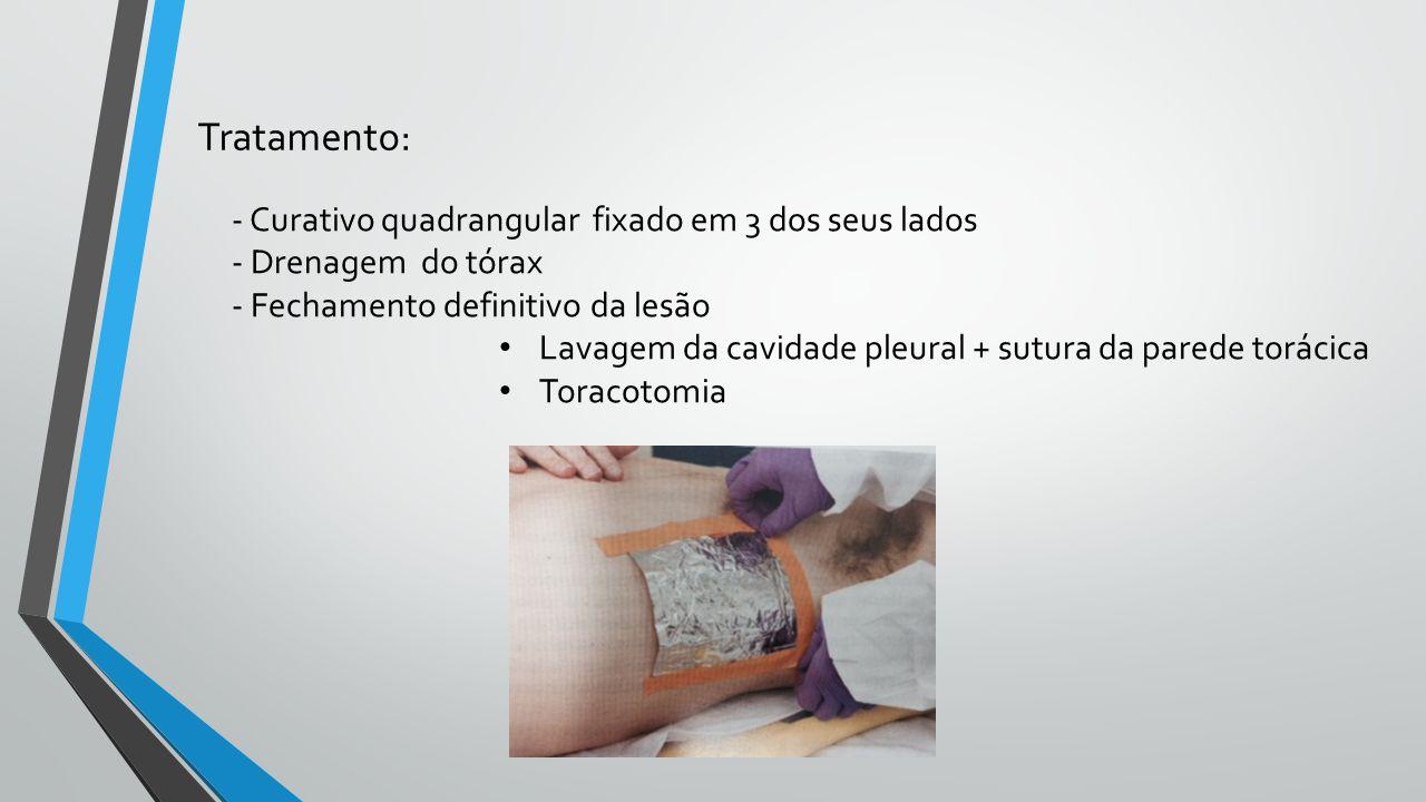 - Curativo quadrangular fixado em 3 dos seus lados - Drenagem do tórax - Fechamento definitivo da lesão Lavagem da cavidade pleural + sutura da parede