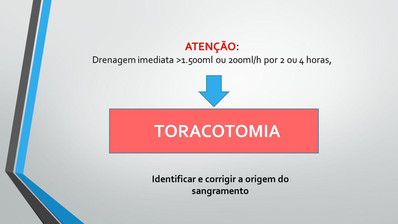 ATENÇÃO : Drenagem imediata >1.500ml ou 200ml/h por 2 ou 4 horas, TORACOTOMIA Identificar e corrigir a origem do sangramento