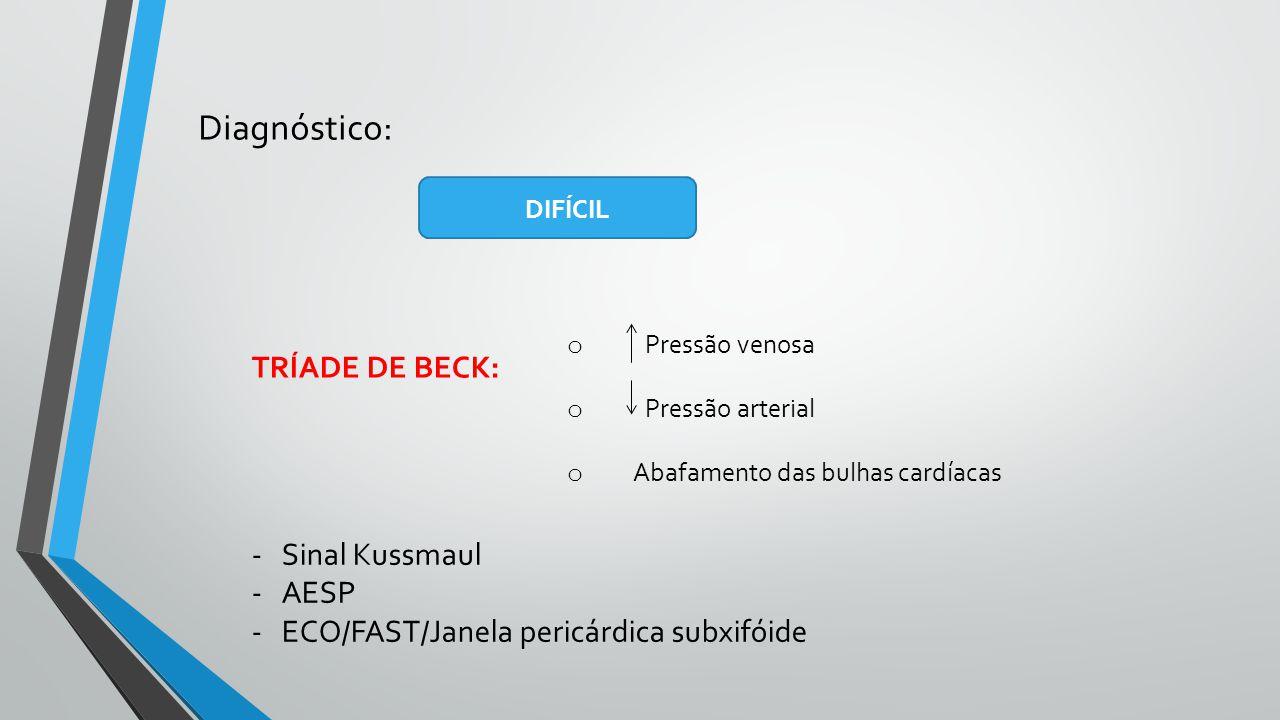 Diagnóstico: DIFÍCIL TRÍADE DE BECK: o Pressão venosa o Pressão arterial o Abafamento das bulhas cardíacas -Sinal Kussmaul -AESP -ECO/FAST/Janela peri