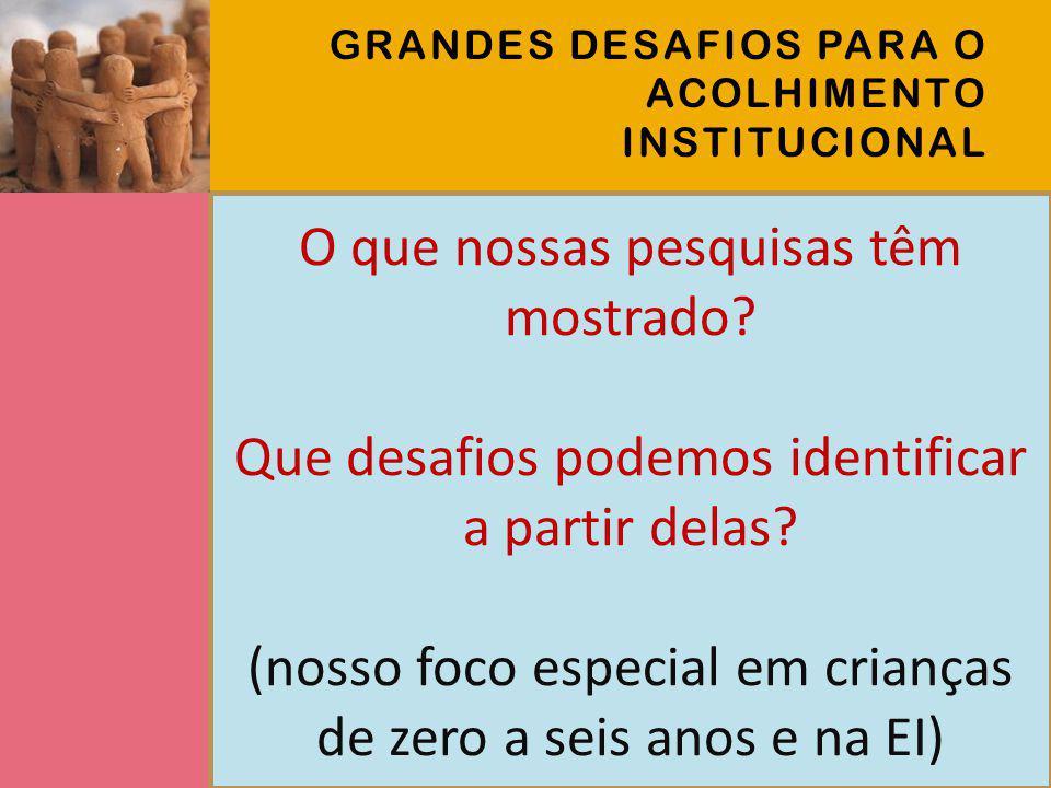 3 ESTUDOS SOBRE ACOLHIMENTO INSTITUCIONAL 1.