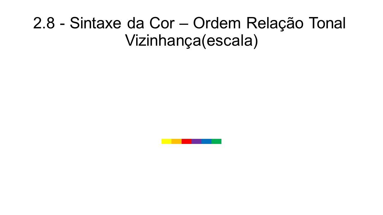 2.8 - Sintaxe da Cor – Ordem Relação Tonal Vizinhança(escala)