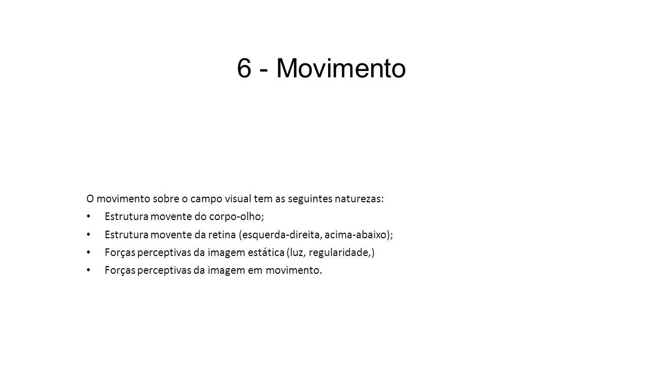 6 - Movimento O movimento sobre o campo visual tem as seguintes naturezas: Estrutura movente do corpo-olho; Estrutura movente da retina (esquerda-dire