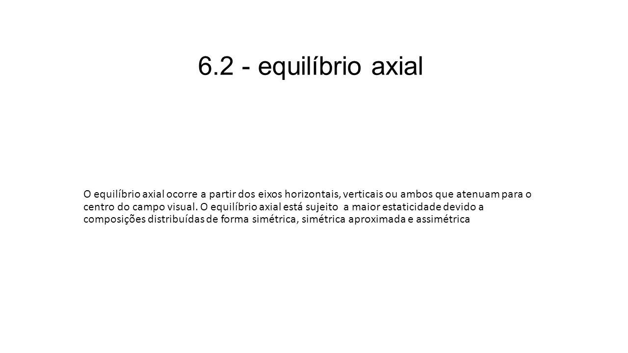 6.2 - equilíbrio axial O equilíbrio axial ocorre a partir dos eixos horizontais, verticais ou ambos que atenuam para o centro do campo visual. O equil