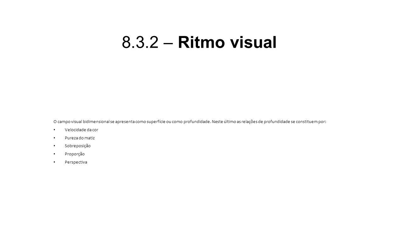 8.3.2 – Ritmo visual O campo visual bidimensional se apresenta como superfície ou como profundidade. Neste último as relações de profundidade se const