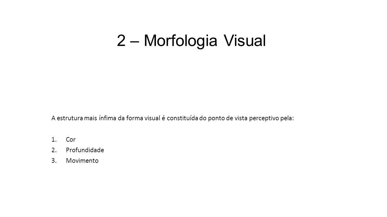 2 – Morfologia Visual A estrutura mais ínfima da forma visual é constituída do ponto de vista perceptivo pela: 1.Cor 2.Profundidade 3.Movimento