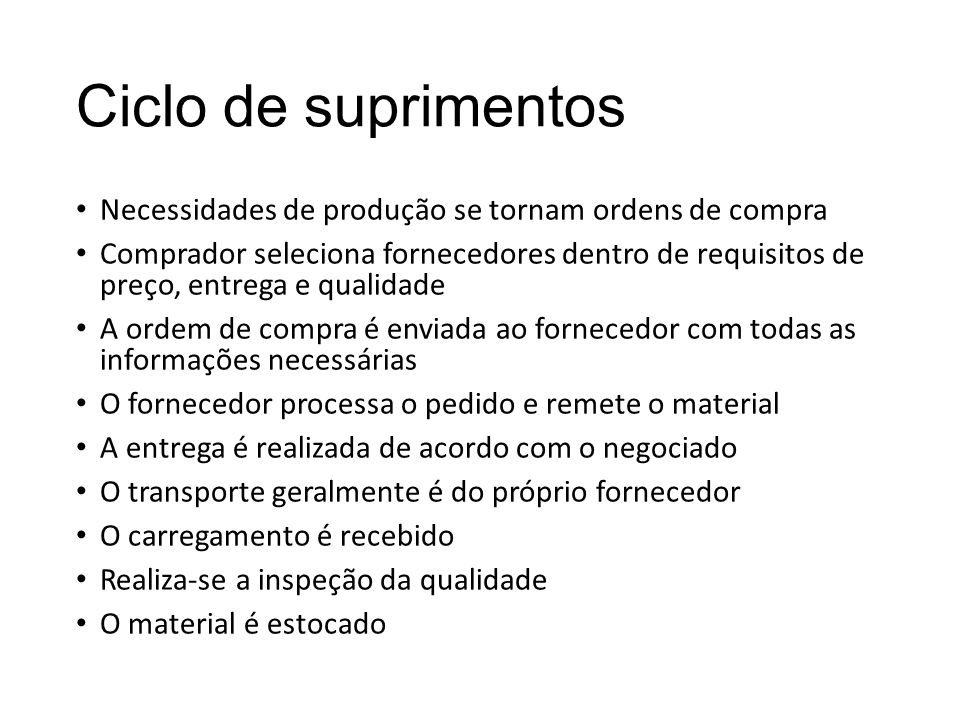 Ciclo de suprimentos Necessidades de produção se tornam ordens de compra Comprador seleciona fornecedores dentro de requisitos de preço, entrega e qua