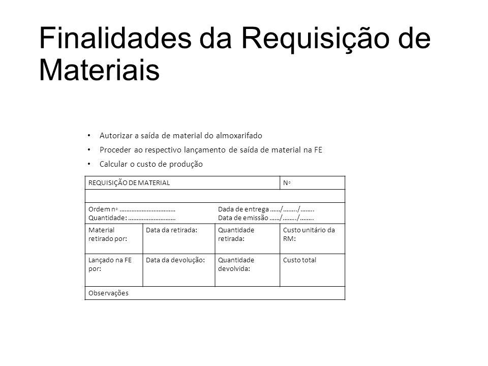 Finalidades da Requisição de Materiais Autorizar a saída de material do almoxarifado Proceder ao respectivo lançamento de saída de material na FE Calc