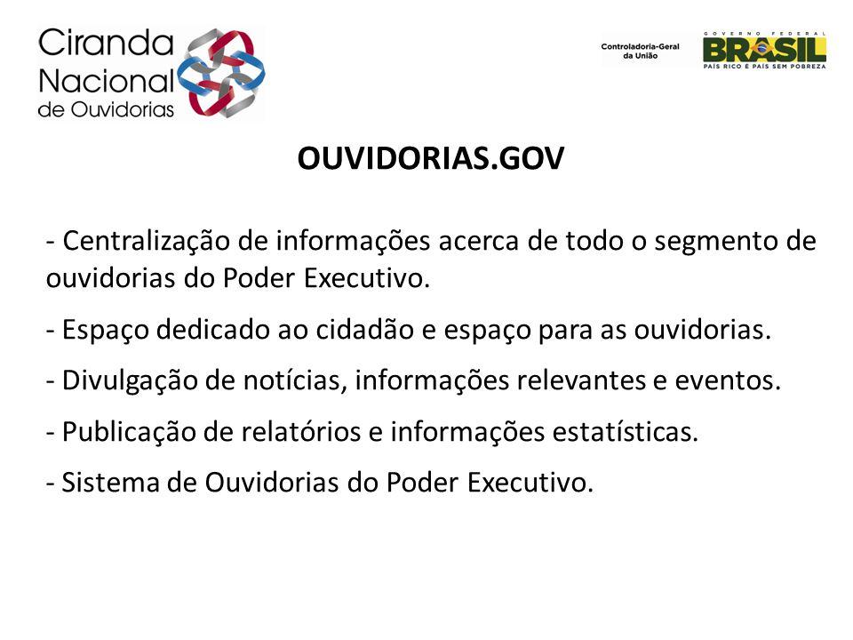 OUVIDORIAS.GOV - Centralização de informações acerca de todo o segmento de ouvidorias do Poder Executivo. - Espaço dedicado ao cidadão e espaço para a