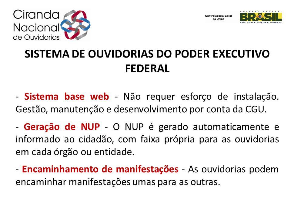SISTEMA DE OUVIDORIAS DO PODER EXECUTIVO FEDERAL - Sistema base web - Não requer esforço de instalação. Gestão, manutenção e desenvolvimento por conta