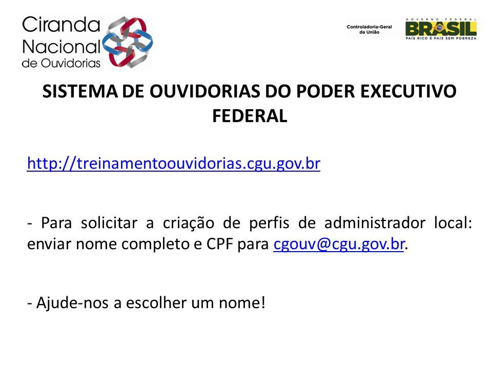 SISTEMA DE OUVIDORIAS DO PODER EXECUTIVO FEDERAL http://treinamentoouvidorias.cgu.gov.br - Para solicitar a criação de perfis de administrador local: