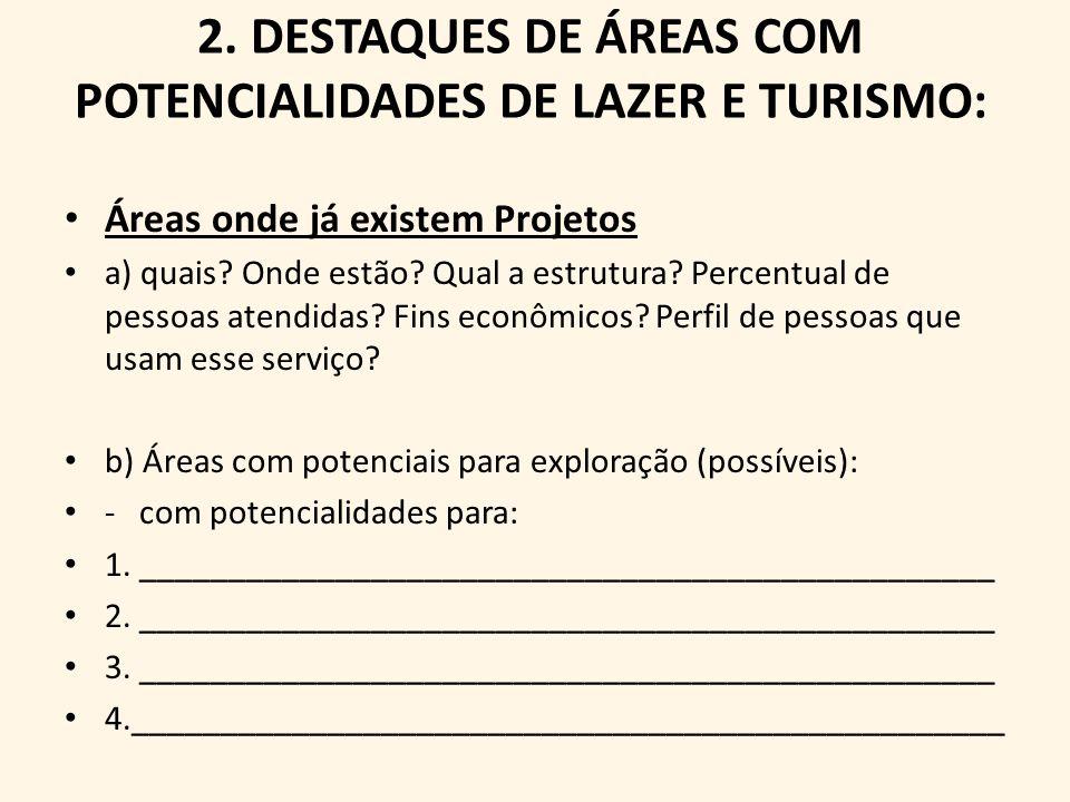 2. DESTAQUES DE ÁREAS COM POTENCIALIDADES DE LAZER E TURISMO: Áreas onde já existem Projetos a) quais? Onde estão? Qual a estrutura? Percentual de pes