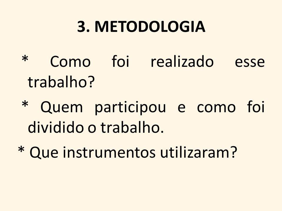 3. METODOLOGIA * Como foi realizado esse trabalho? * Quem participou e como foi dividido o trabalho. * Que instrumentos utilizaram?