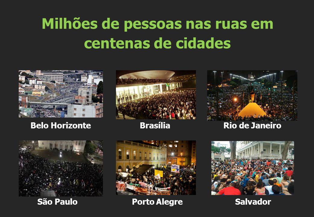 Belo Horizonte Brasília Rio de Janeiro São Paulo Porto Alegre Salvador Milhões de pessoas nas ruas em centenas de cidades