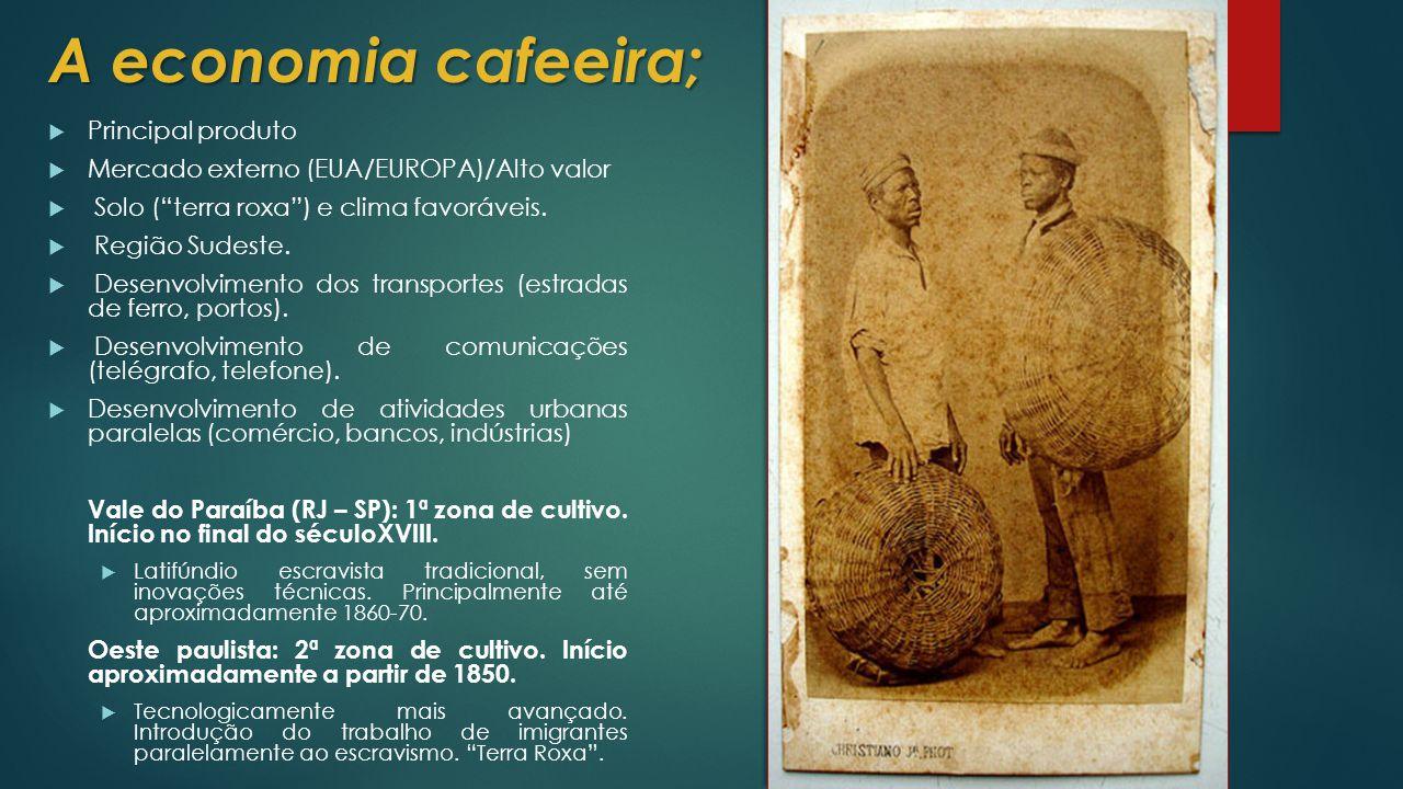A economia cafeeira;  Principal produto  Mercado externo (EUA/EUROPA)/Alto valor  Solo ( terra roxa ) e clima favoráveis.
