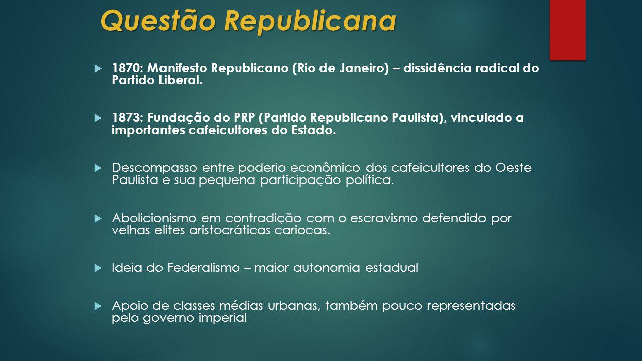 Questão Republicana  1870: Manifesto Republicano (Rio de Janeiro) – dissidência radical do Partido Liberal.
