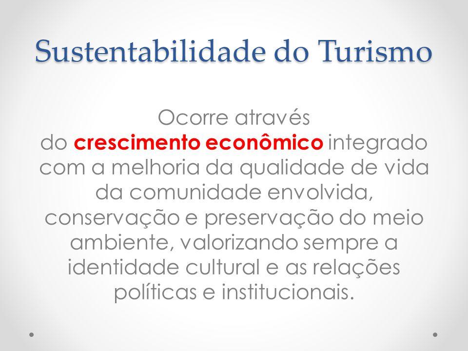 Sustentabilidade do Turismo Ocorre através do crescimento econômico integrado com a melhoria da qualidade de vida da comunidade envolvida, conservação