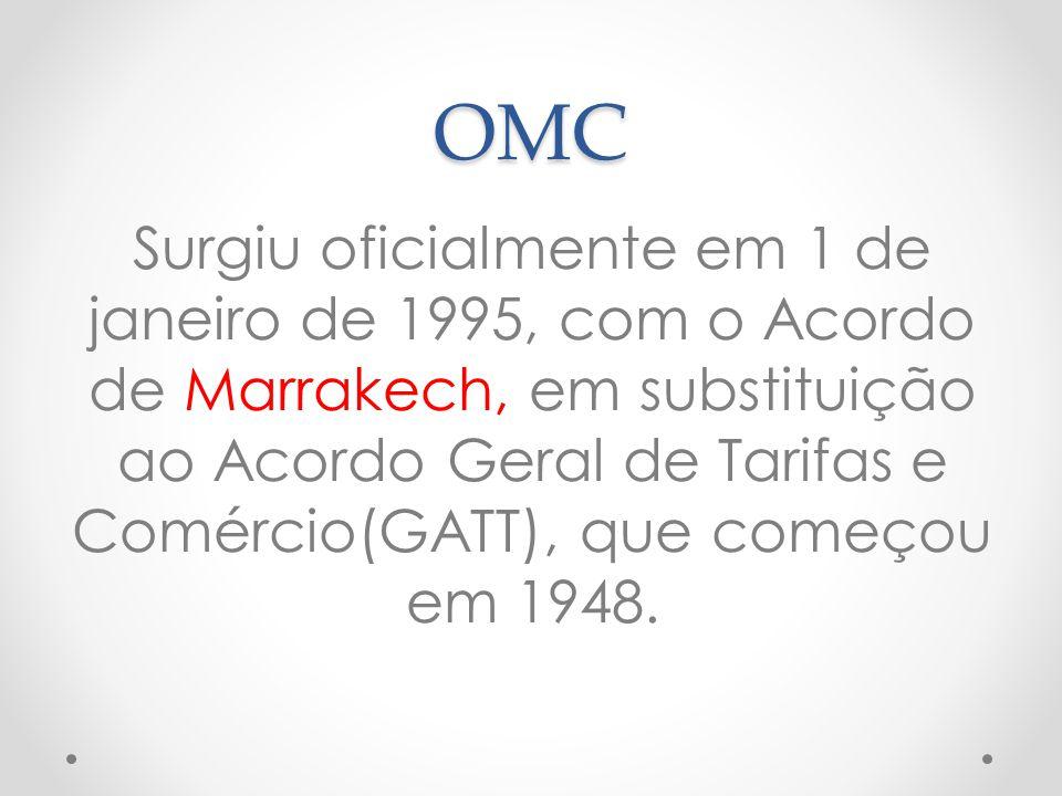 OMC Surgiu oficialmente em 1 de janeiro de 1995, com o Acordo de Marrakech, em substituição ao Acordo Geral de Tarifas e Comércio(GATT), que começou e