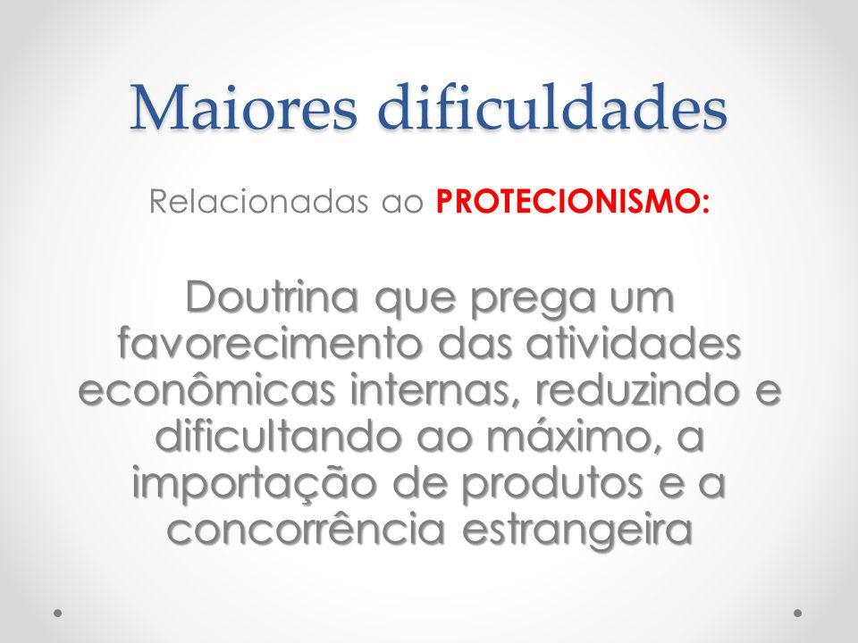 Maiores dificuldades Relacionadas ao PROTECIONISMO: Doutrina que prega um favorecimento das atividades econômicas internas, reduzindo e dificultando a