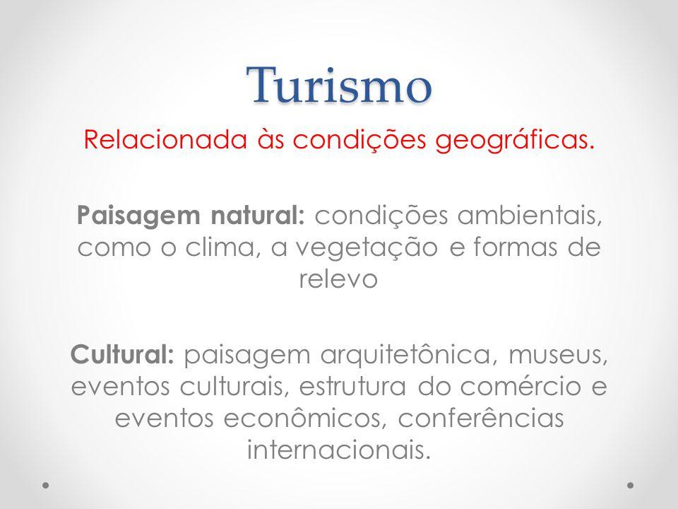 Turismo Relacionada às condições geográficas. Paisagem natural: condições ambientais, como o clima, a vegetação e formas de relevo Cultural: paisagem