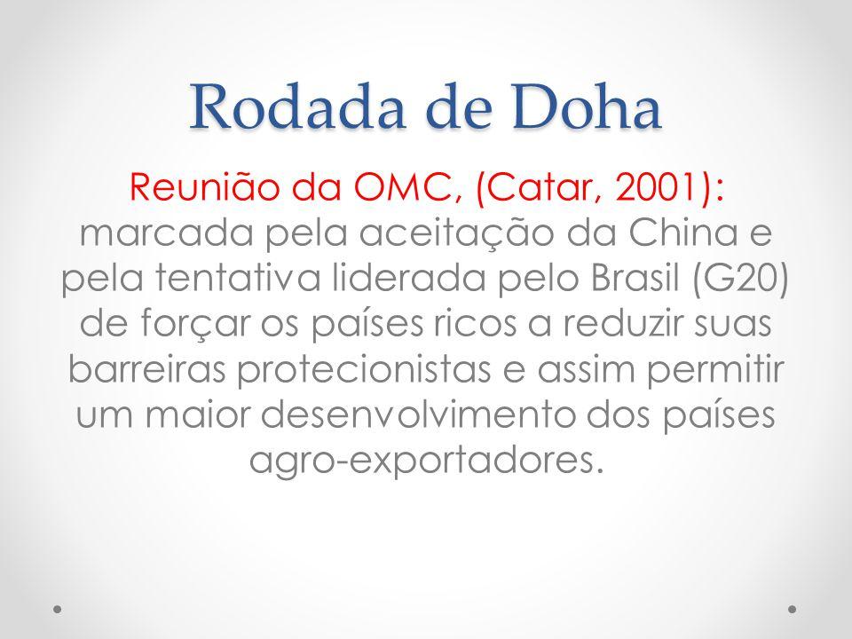 Rodada de Doha Reunião da OMC, (Catar, 2001): marcada pela aceitação da China e pela tentativa liderada pelo Brasil (G20) de forçar os países ricos a