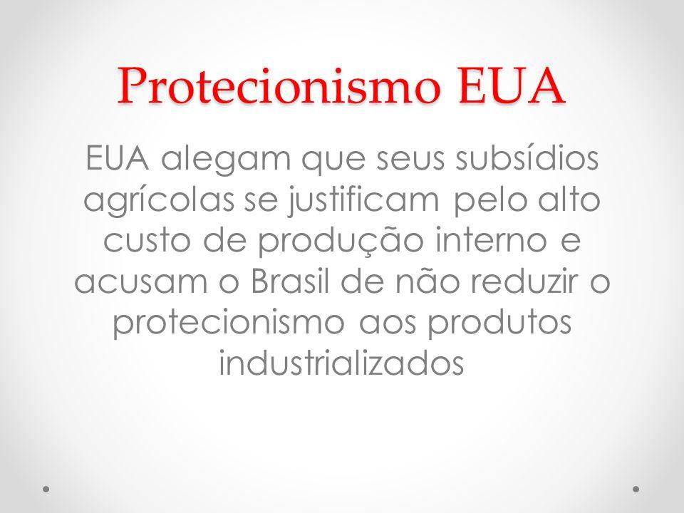 Protecionismo EUA EUA alegam que seus subsídios agrícolas se justificam pelo alto custo de produção interno e acusam o Brasil de não reduzir o proteci