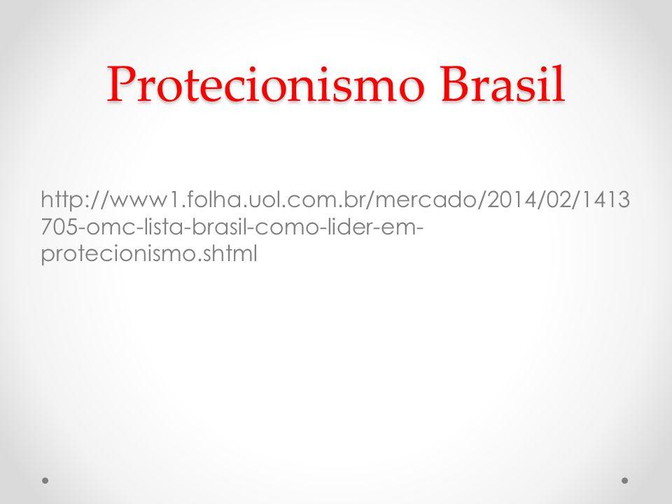 Protecionismo Brasil http://www1.folha.uol.com.br/mercado/2014/02/1413 705-omc-lista-brasil-como-lider-em- protecionismo.shtml