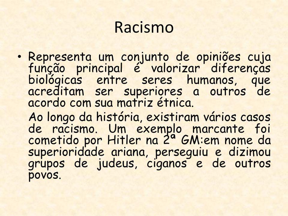 Racismo Representa um conjunto de opiniões cuja função principal é valorizar diferenças biológicas entre seres humanos, que acreditam ser superiores a outros de acordo com sua matriz étnica.