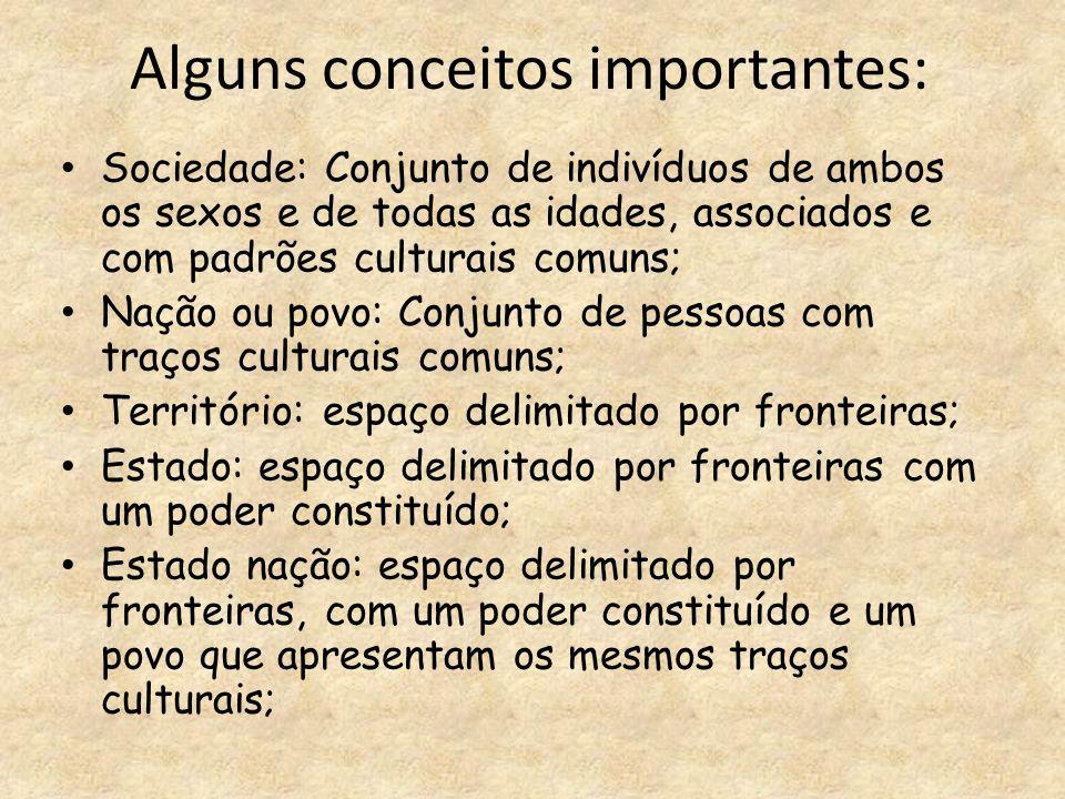Alguns conceitos importantes: Sociedade: Conjunto de indivíduos de ambos os sexos e de todas as idades, associados e com padrões culturais comuns; Naç