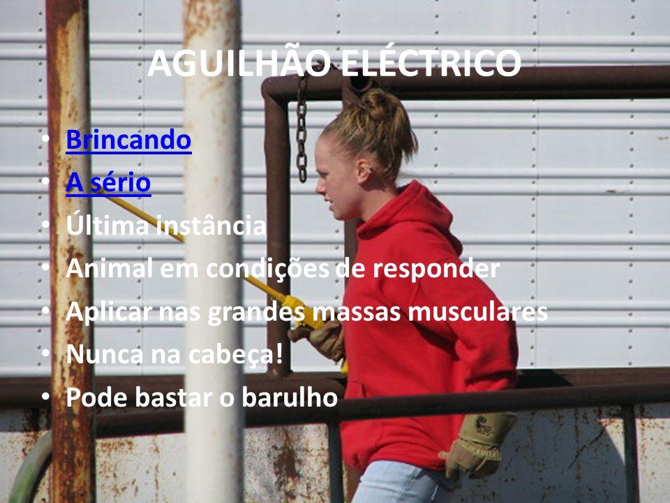 AGUILHÃO ELÉCTRICO Brincando A sério Última instância Animal em condições de responder Aplicar nas grandes massas musculares Nunca na cabeça.
