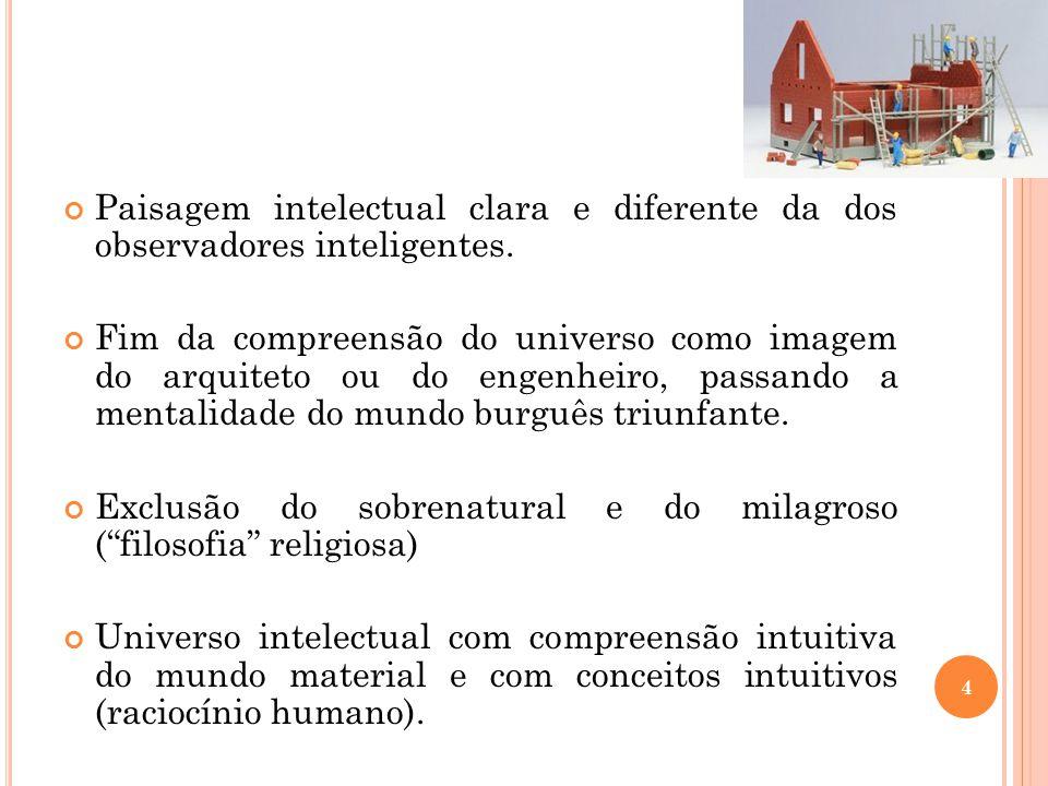Paisagem intelectual clara e diferente da dos observadores inteligentes. Fim da compreensão do universo como imagem do arquiteto ou do engenheiro, pas