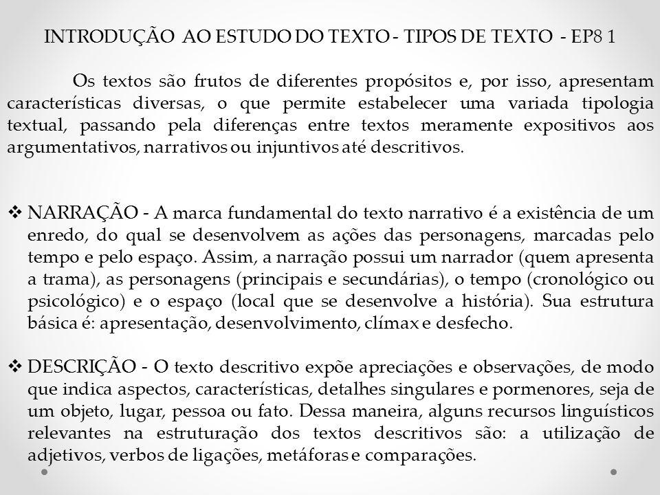INTRODUÇÃO AO ESTUDO DO TEXTO - TIPOS DE TEXTO - EP8 1 Os textos são frutos de diferentes propósitos e, por isso, apresentam características diversas,