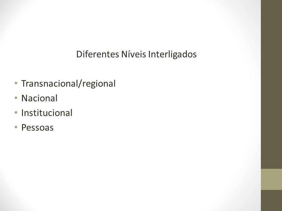 Diferentes Níveis Interligados Transnacional/regional Nacional Institucional Pessoas