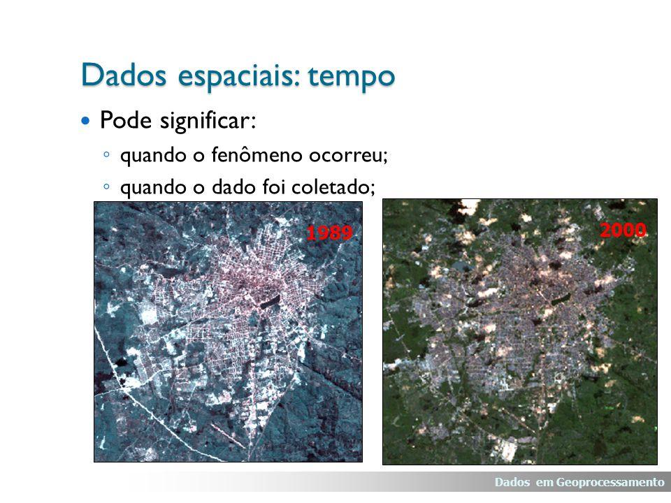 Pode significar: ◦ quando o fenômeno ocorreu; ◦ quando o dado foi coletado; 1989 2000 Dados espaciais: tempo Dados em Geoprocessamento