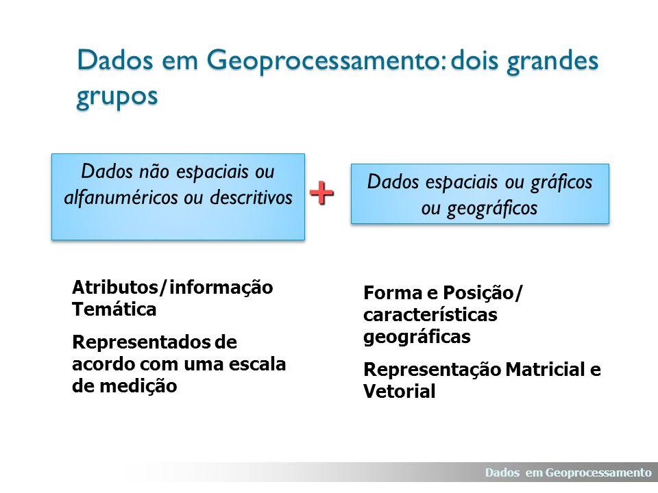 Dados em Geoprocessamento: dois grandes grupos + Dados não espaciais ou alfanuméricos ou descritivos Dados espaciais ou gráficos ou geográficos Atribu