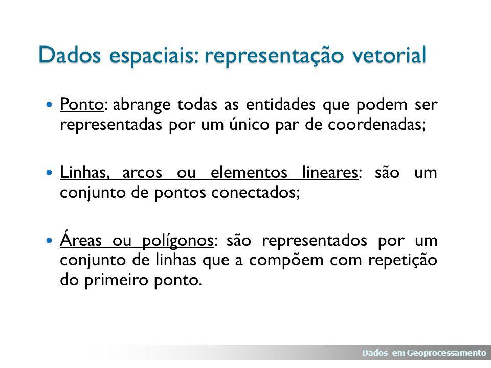Ponto: abrange todas as entidades que podem ser representadas por um único par de coordenadas; Linhas, arcos ou elementos lineares: são um conjunto de