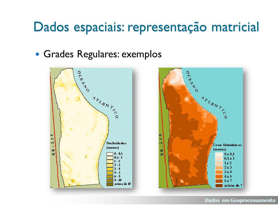 Grades Regulares: exemplos Dados espaciais: representação matricial Dados em Geoprocessamento