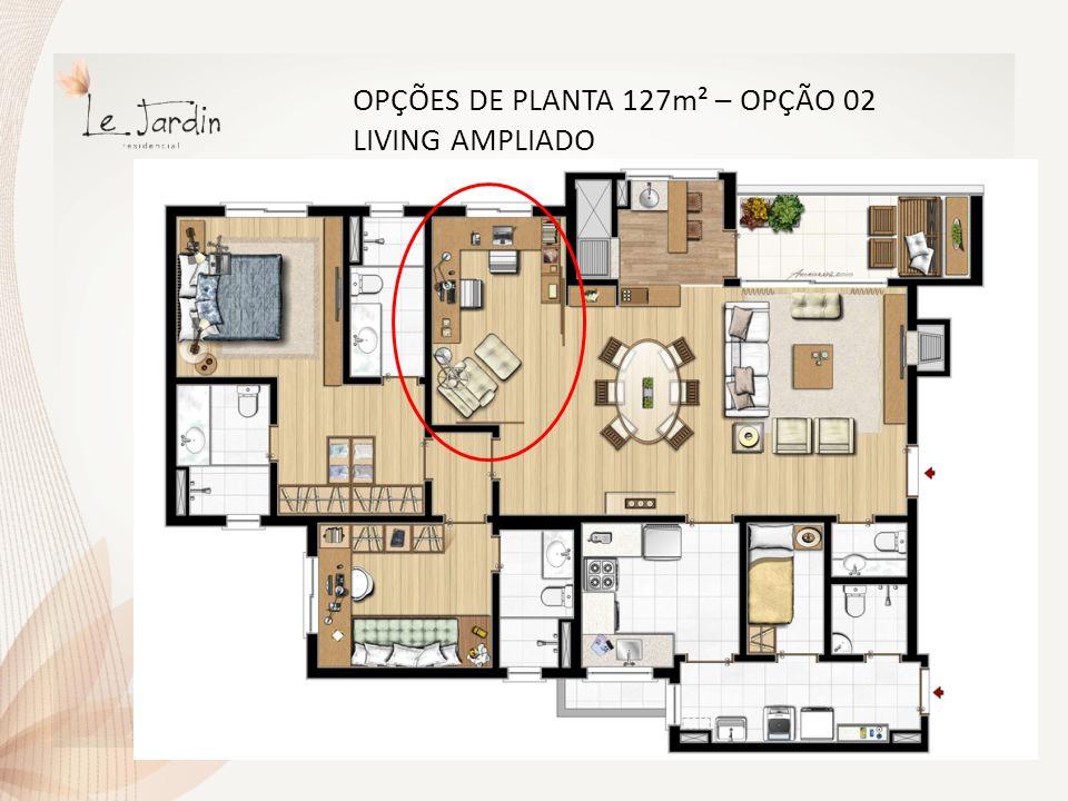 OPÇÕES DE PLANTA 127m² – OPÇÃO 03 DESPENSA E HOME OFFICE