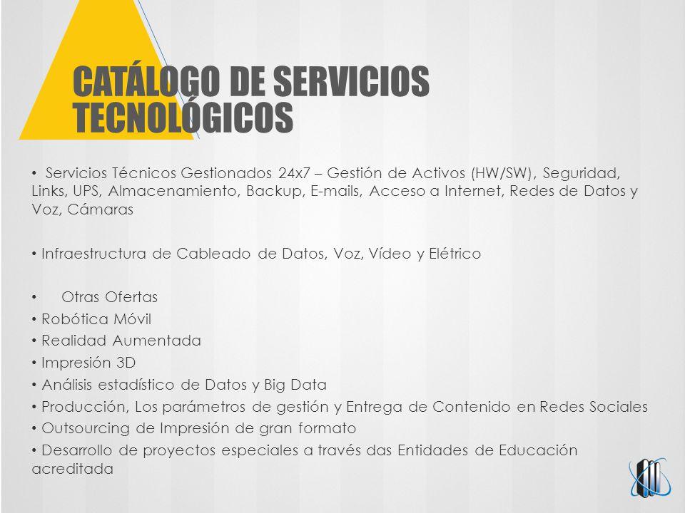 CATÁLOGO DE SERVICIOS TECNOLÓGICOS Servicios Técnicos Gestionados 24x7 – Gestión de Activos (HW/SW), Seguridad, Links, UPS, Almacenamiento, Backup, E-