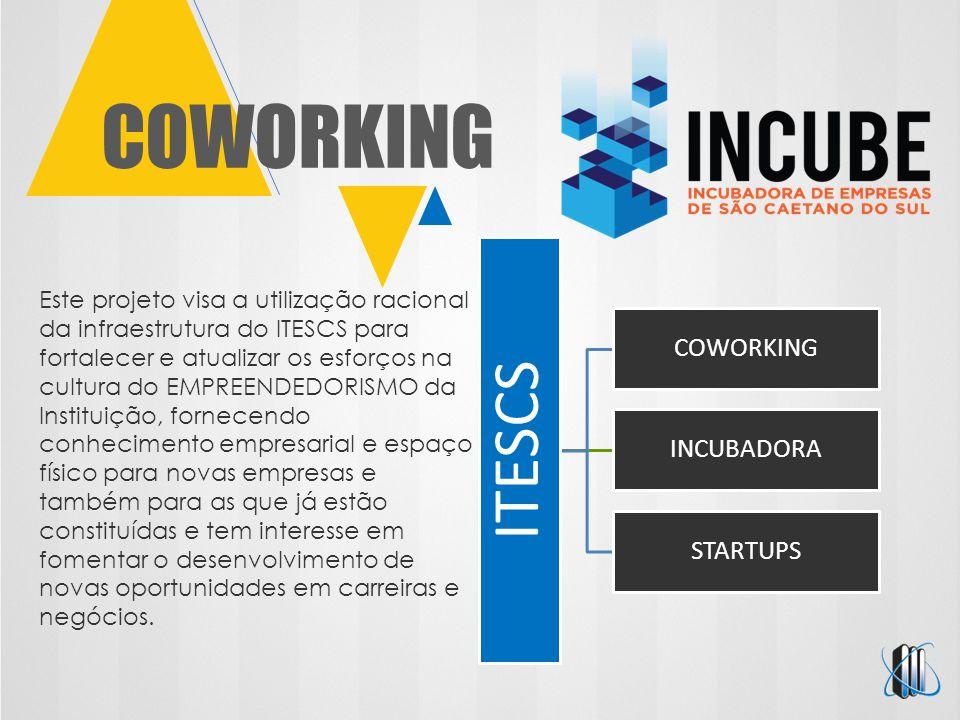 COWORKING ITESCS COWORKING INCUBADORA STARTUPS Este projeto visa a utilização racional da infraestrutura do ITESCS para fortalecer e atualizar os esfo