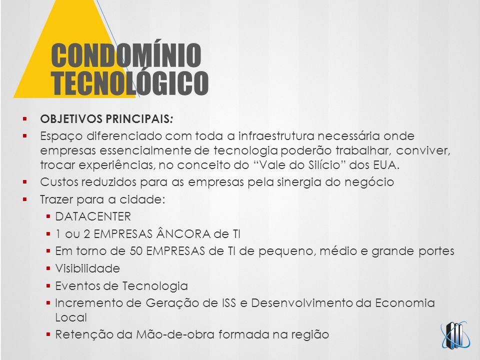 CONDOMÍNIO TECNOLÓGICO  OBJETIVOS PRINCIPAIS :  Espaço diferenciado com toda a infraestrutura necessária onde empresas essencialmente de tecnologia