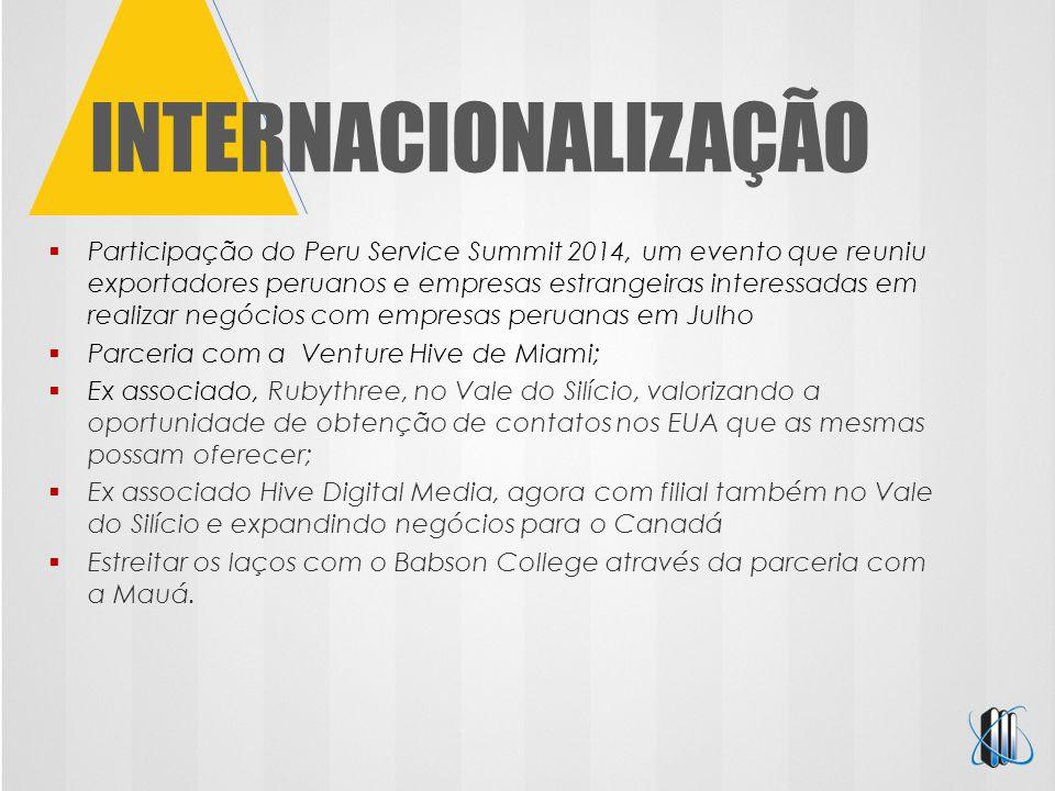 INTERNACIONALIZAÇÃO  Participação do Peru Service Summit 2014, um evento que reuniu exportadores peruanos e empresas estrangeiras interessadas em rea