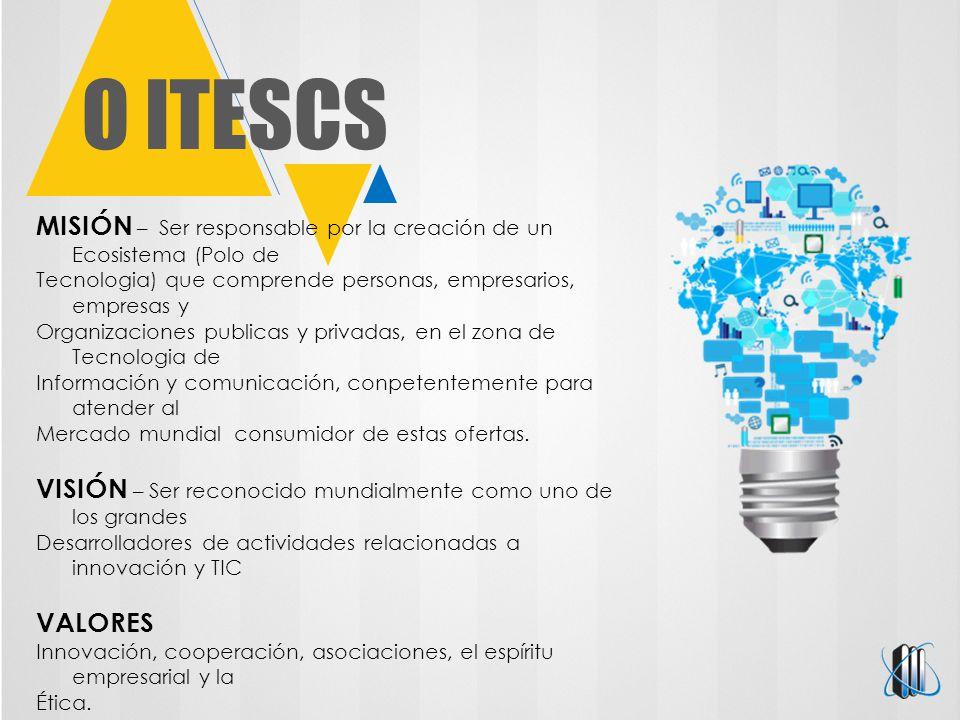 O ITESCS MISIÓN – Ser responsable por la creación de un Ecosistema (Polo de Tecnologia) que comprende personas, empresarios, empresas y Organizaciones publicas y privadas, en el zona de Tecnologia de Información y comunicación, conpetentemente para atender al Mercado mundial consumidor de estas ofertas.