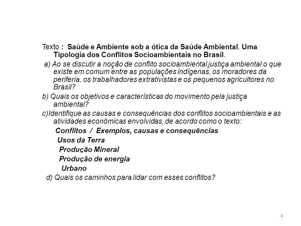 Texto : Saúde e Ambiente sob a ótica da Saúde Ambiental. Uma Tipologia dos Conflitos Socioambientais no Brasil. a) Ao se discutir a noção de conflito