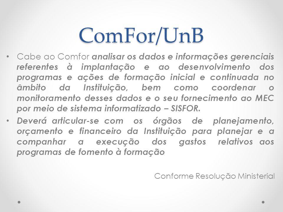 ComFor/UnB Cabe ao Comfor analisar os dados e informações gerenciais referentes à implantação e ao desenvolvimento dos programas e ações de formação i