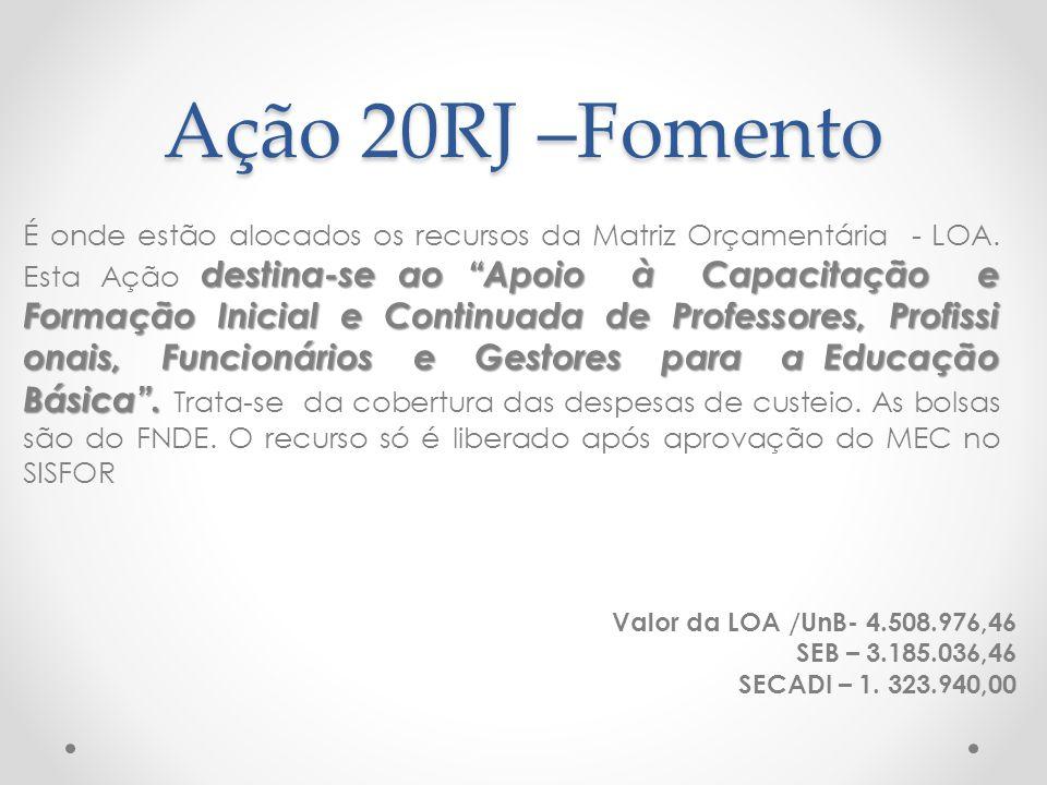 """Ação 20RJ –Fomento destina-se ao """"Apoio à Capacitação e Formação Inicial e Continuada de Professores, Profissi onais, Funcionários e Gestores para a E"""