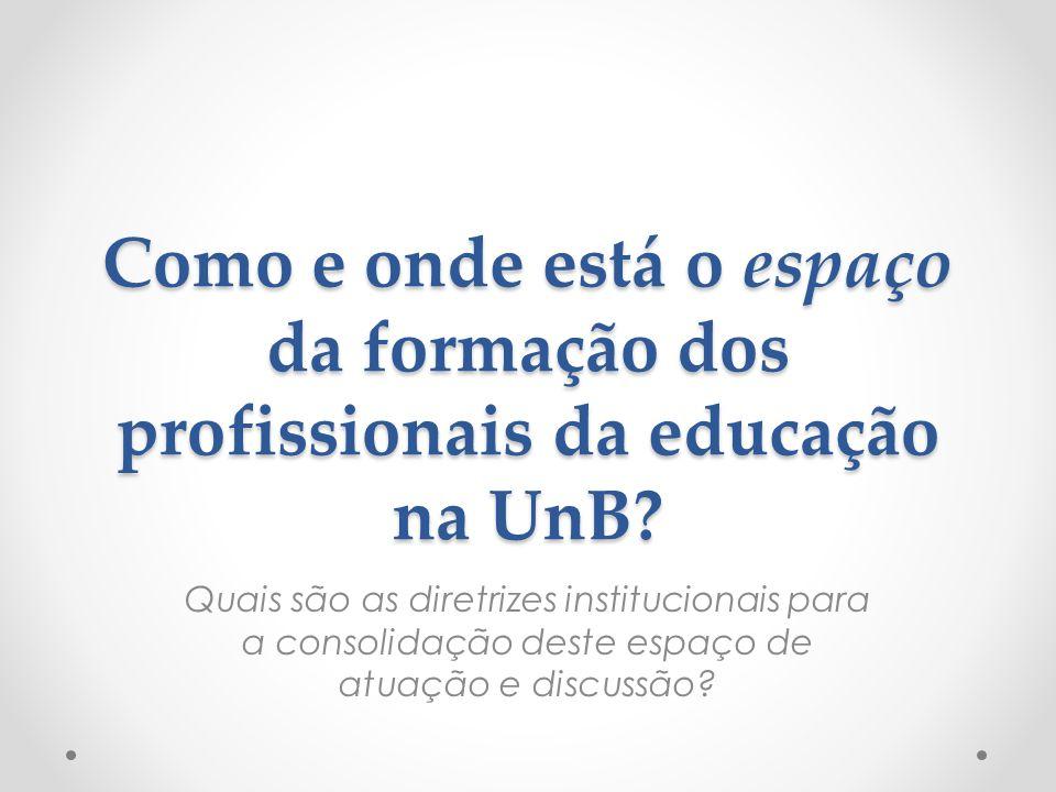Como e onde está o espaço da formação dos profissionais da educação na UnB? Quais são as diretrizes institucionais para a consolidação deste espaço de