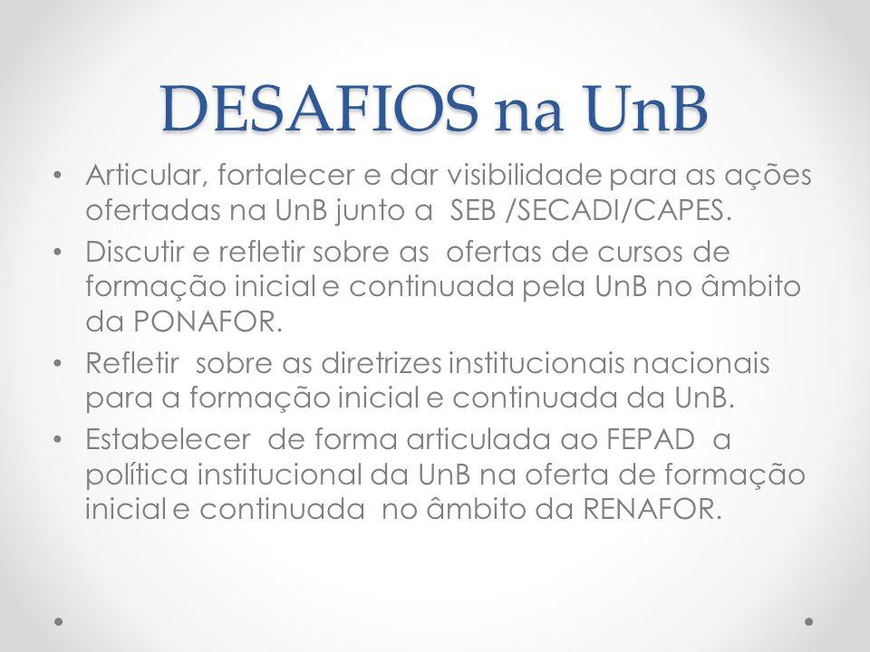 DESAFIOS na UnB Articular, fortalecer e dar visibilidade para as ações ofertadas na UnB junto a SEB /SECADI/CAPES. Discutir e refletir sobre as oferta