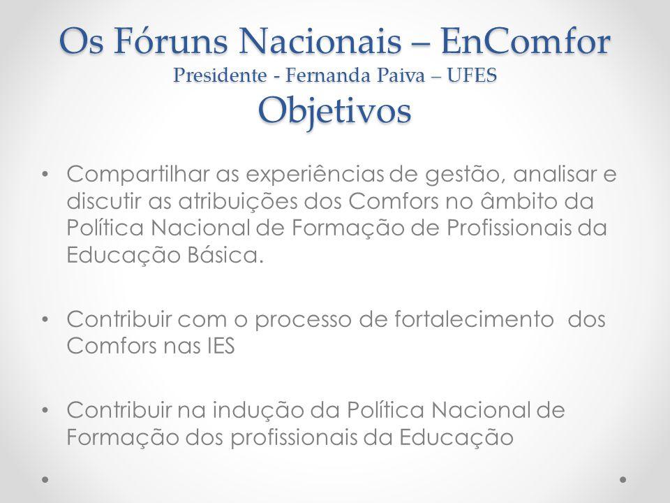 Os Fóruns Nacionais – EnComfor Presidente - Fernanda Paiva – UFES Objetivos Compartilhar as experiências de gestão, analisar e discutir as atribuições