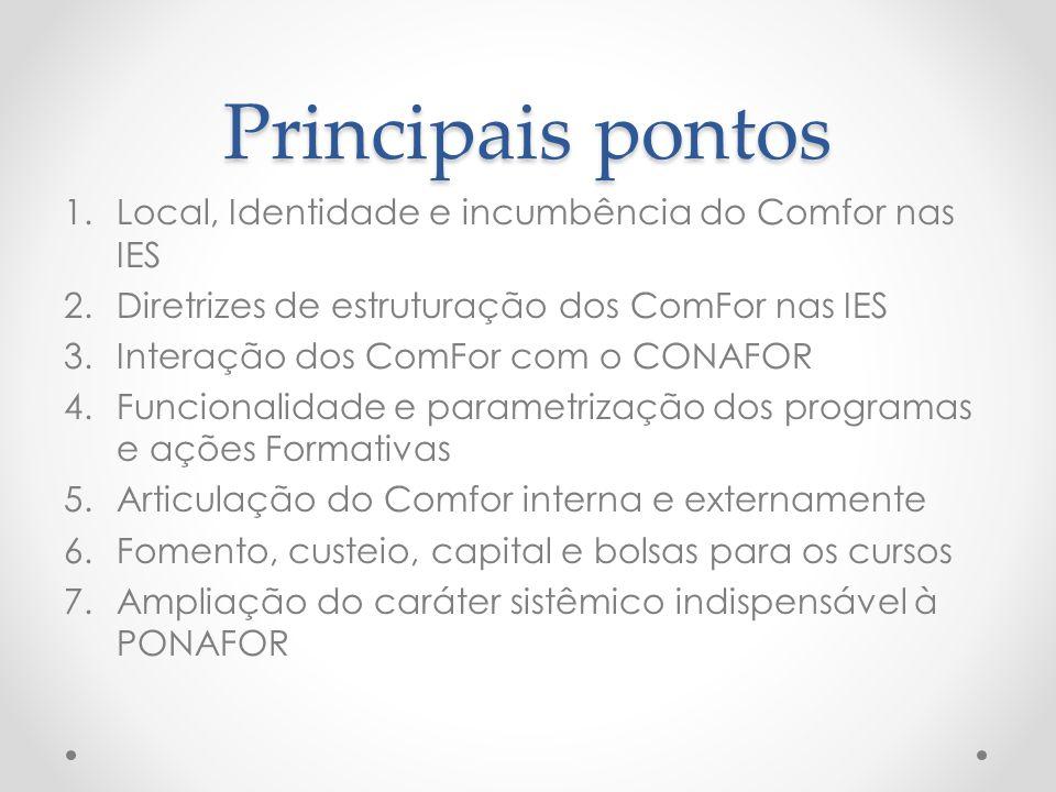 Principais pontos 1.Local, Identidade e incumbência do Comfor nas IES 2.Diretrizes de estruturação dos ComFor nas IES 3.Interação dos ComFor com o CON