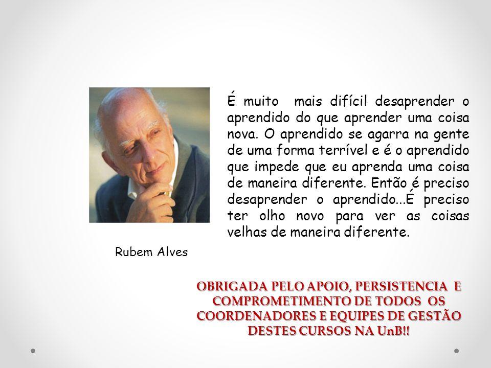 Rubem Alves É muito mais difícil desaprender o aprendido do que aprender uma coisa nova. O aprendido se agarra na gente de uma forma terrível e é o ap